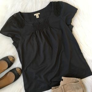 J. Crew Navy Smocked Cotton Blouse Top Small